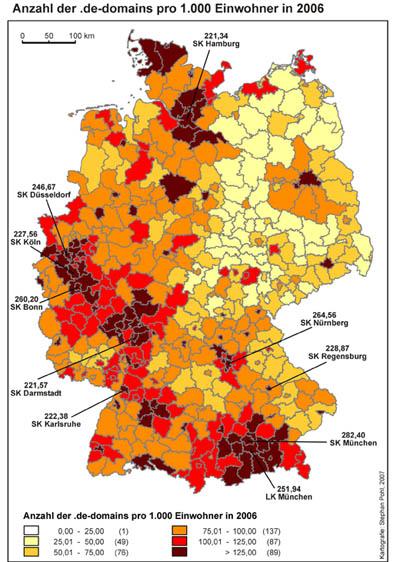 DENIC: .de-domeinnamen per inwoner in Duitsland
