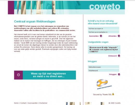 Een screenshot van de website op maandagmorgen voor de aanpassingen