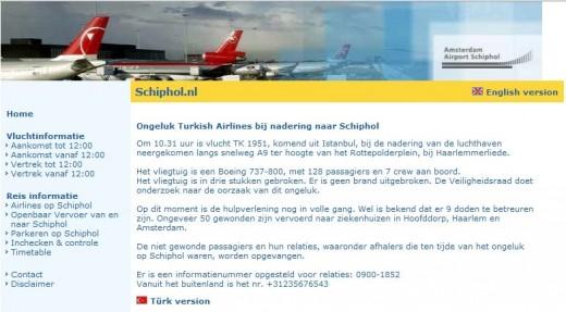 Schiphol.nl na vliegtuig crash