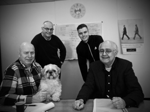 De mannen - en hond - van Storage Management.