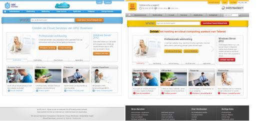 Website UPC Cloudservices en Telenet/Hostbasket