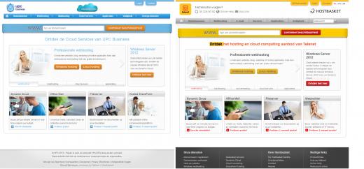 Website UPC Cloudservices en Telenet/Hostbasket