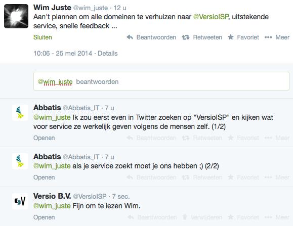 Abbatis ronselt Versio klant op Twitter