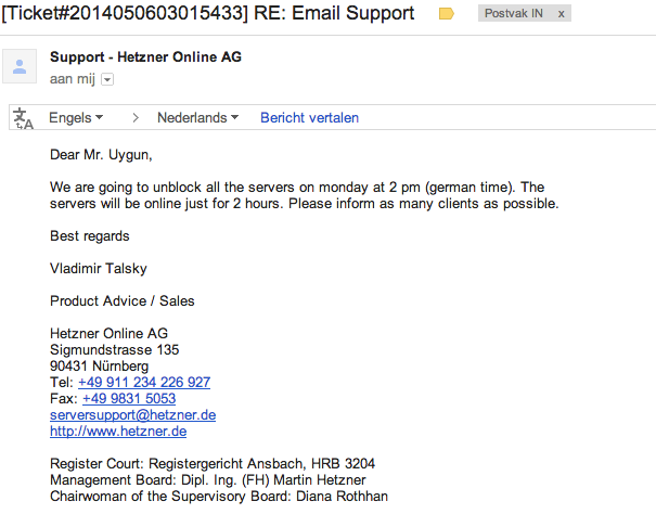 Mail Hetzner over het openstellen van Hostdeal servers
