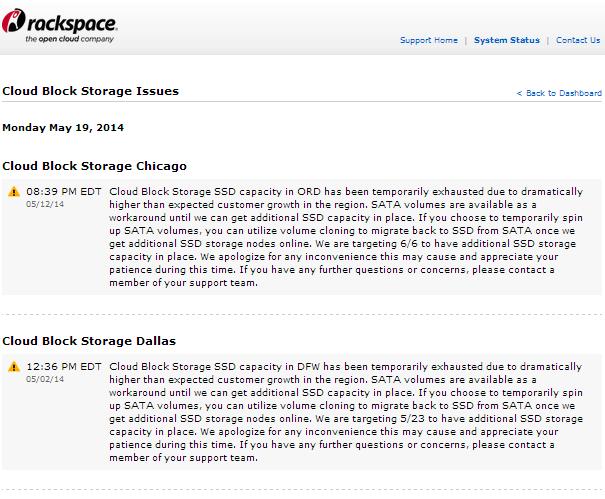 Rackspace kan geen SSD-storage leveren