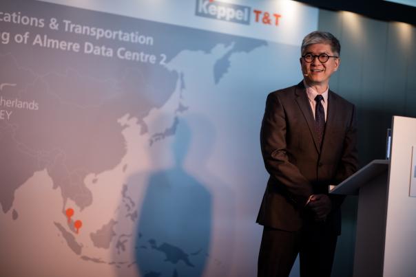 Thomas Pang, CEO Keppel T&T, tijdens de opening van het nieuwe datacenter in Almere