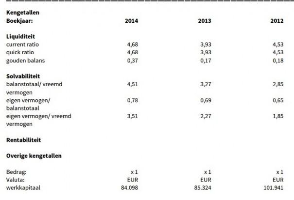 Xel Holding Ratios 2014